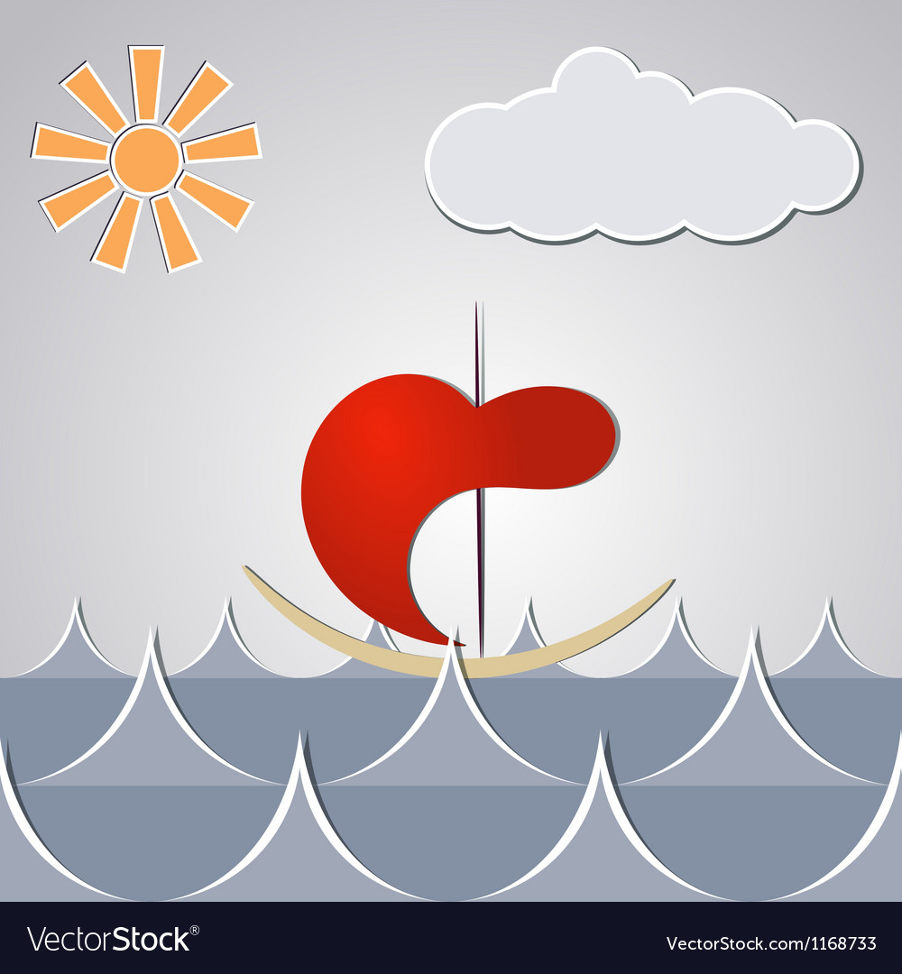 Cartoon drawing little ship through the waves vector   Price: 1 Credit (USD $1)