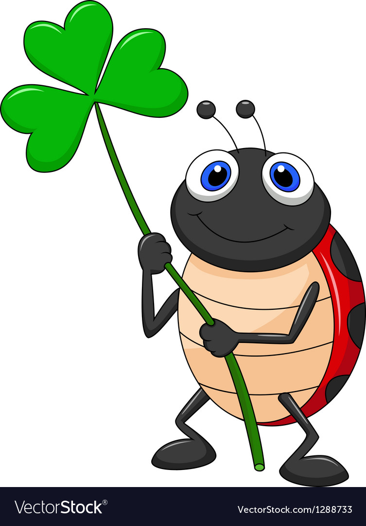 Cute ladybug cartoon with clover leaf vector | Price: 1 Credit (USD $1)