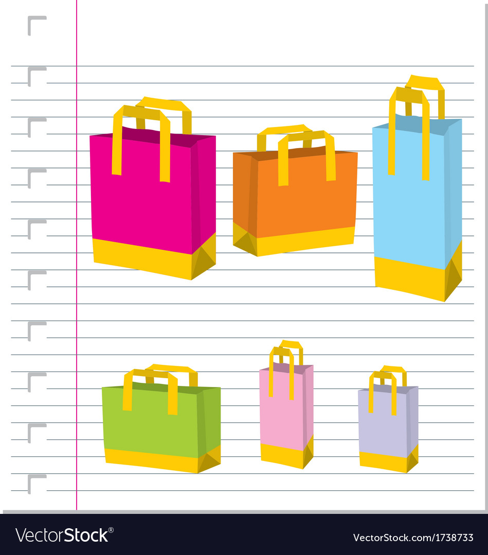 Empty shopping bag on paper vector | Price: 1 Credit (USD $1)