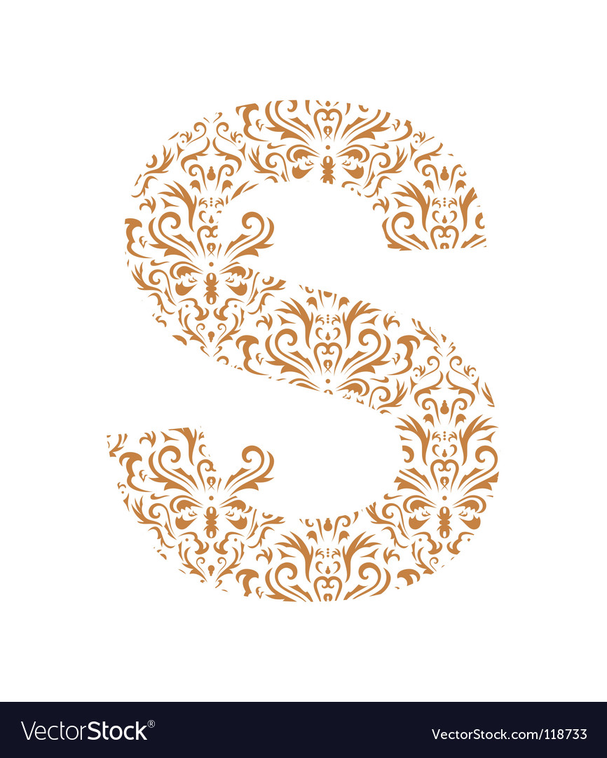 Floral letter s ornament font vector | Price: 1 Credit (USD $1)
