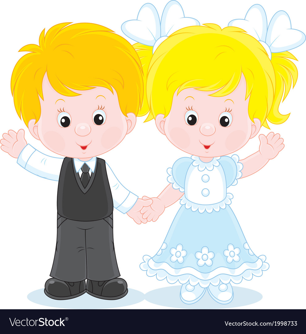 Little boy and girl vector | Price: 1 Credit (USD $1)
