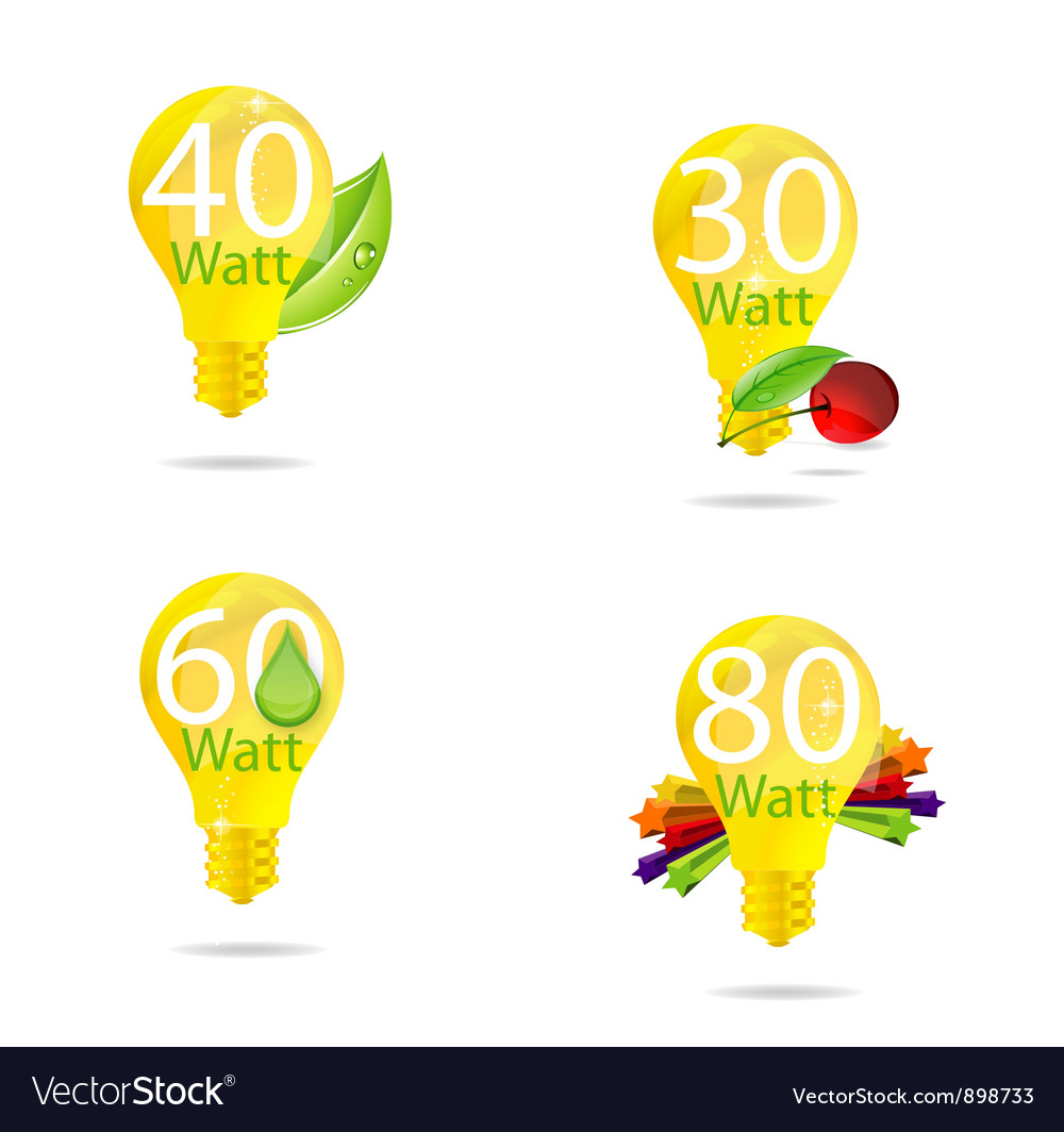 Nature eco gold bulb symbols set vector | Price: 3 Credit (USD $3)