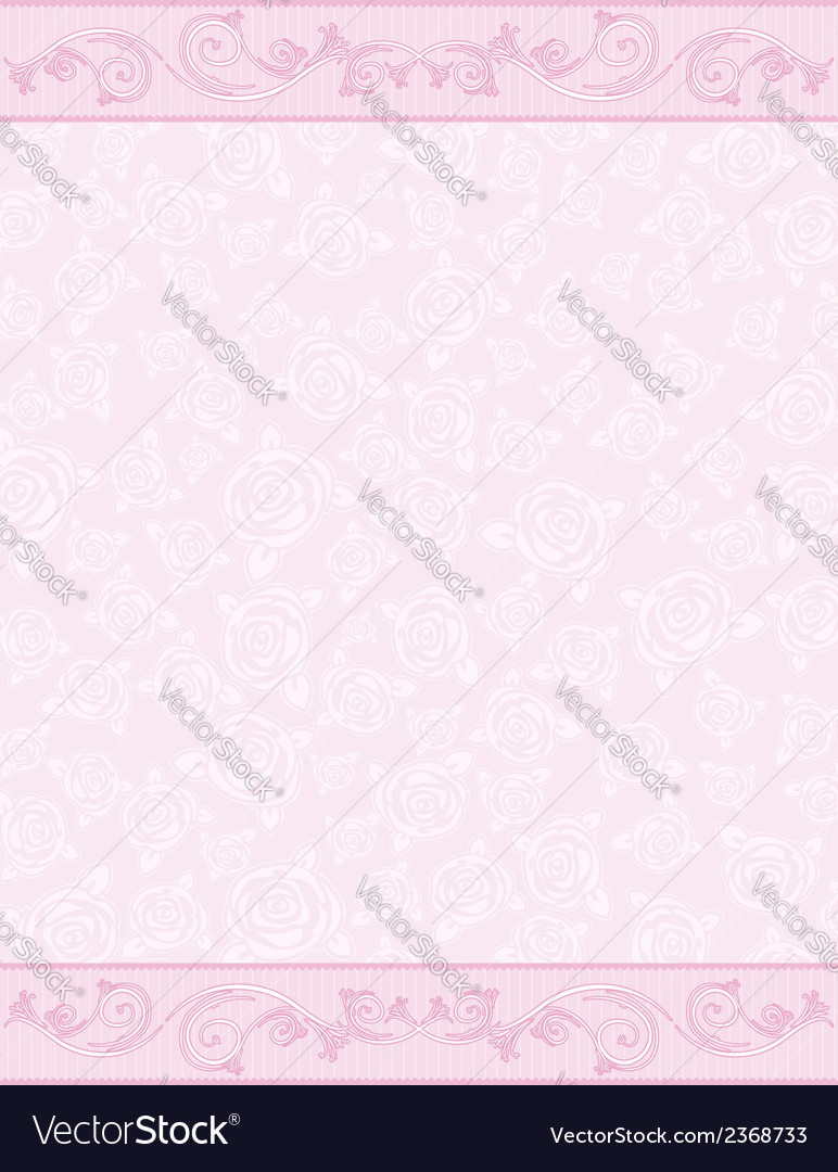Pink background with decorative roses vector | Price: 1 Credit (USD $1)