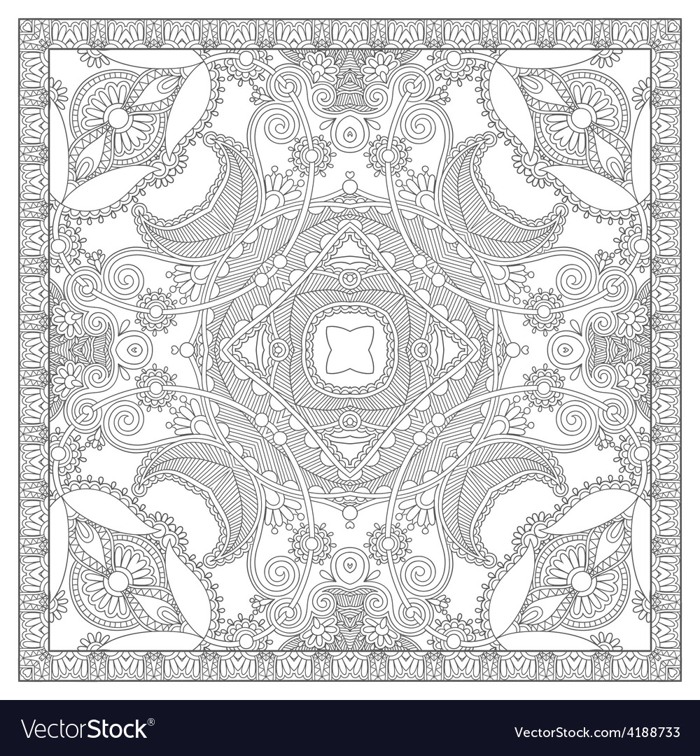 Unique coloring book square page for adults vector | Price: 1 Credit (USD $1)