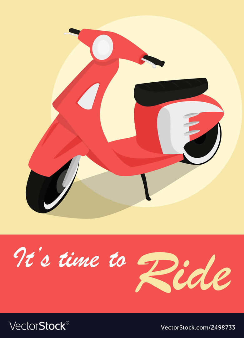 Vintage card of scooter in retro style vector | Price: 1 Credit (USD $1)
