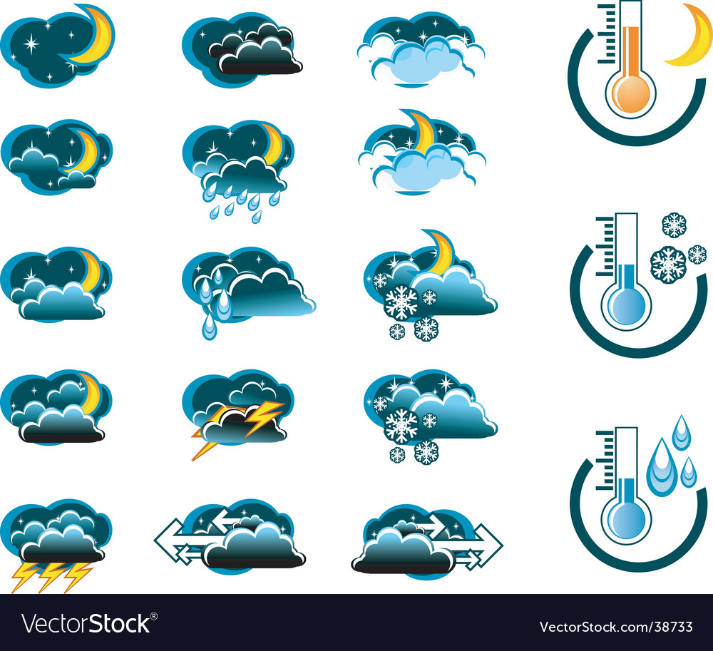 Weather forecast icons vector | Price: 1 Credit (USD $1)