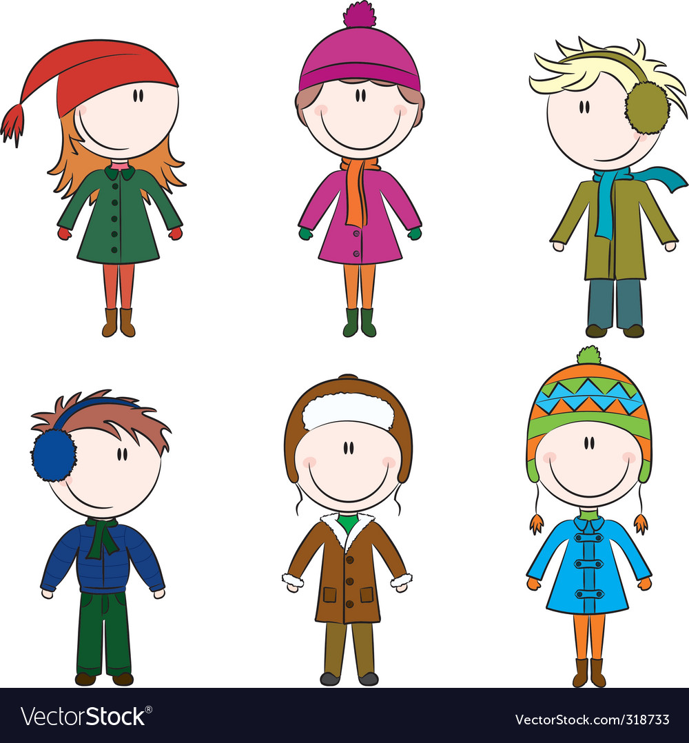 Winter kids vector | Price: 1 Credit (USD $1)