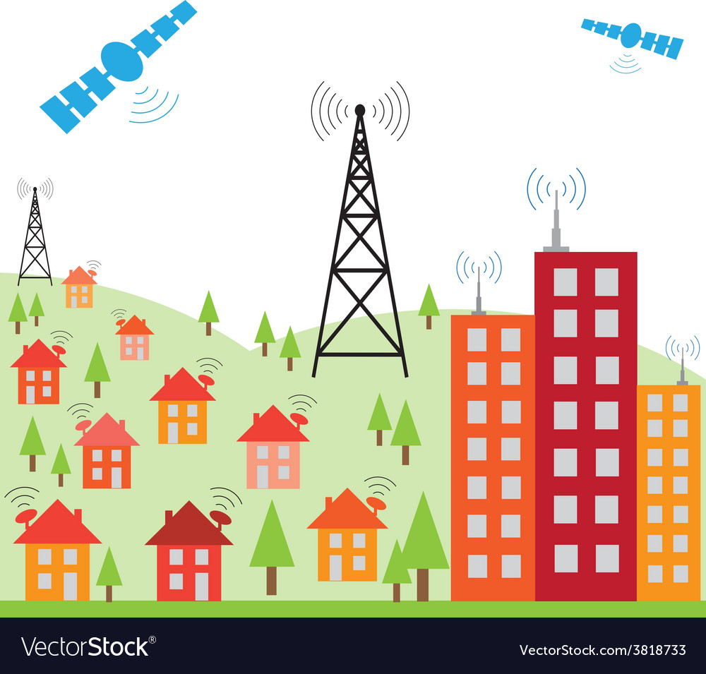 Wireless signal of internet into h vector | Price: 1 Credit (USD $1)