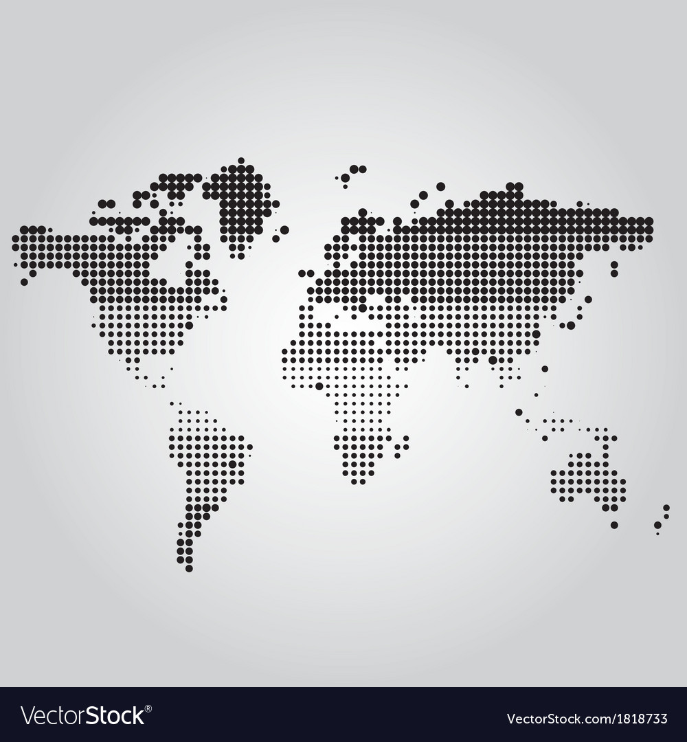 World map with dots of different sizes vector | Price: 1 Credit (USD $1)