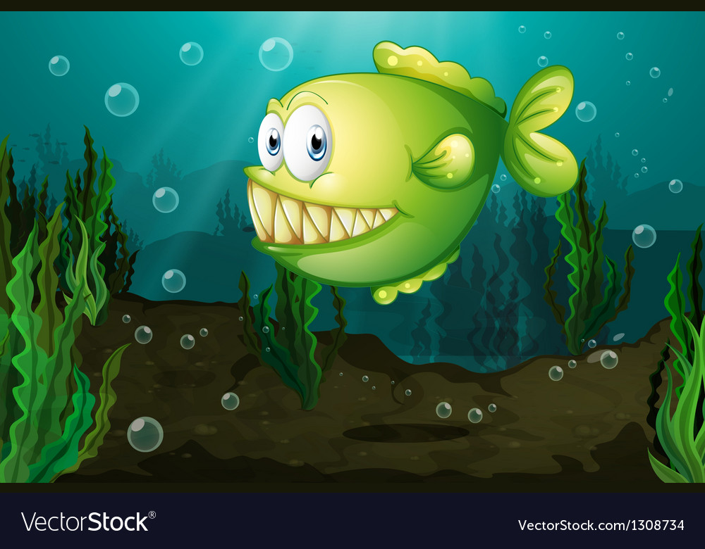 A green fish with big fangs under the sea vector | Price: 1 Credit (USD $1)