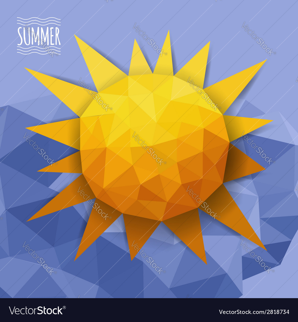 Abstract triangle with clouds and sun vector | Price: 1 Credit (USD $1)