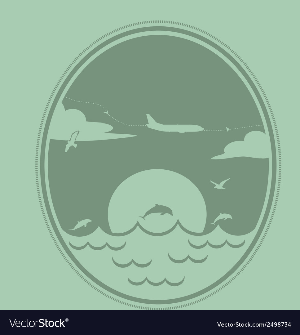 Airplane flies over the sea vector | Price: 1 Credit (USD $1)