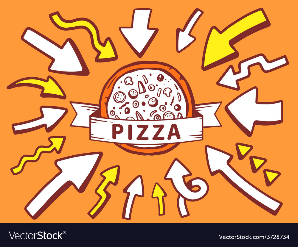 Arrows point to icon of pizza on orange b vector | Price: 1 Credit (USD $1)