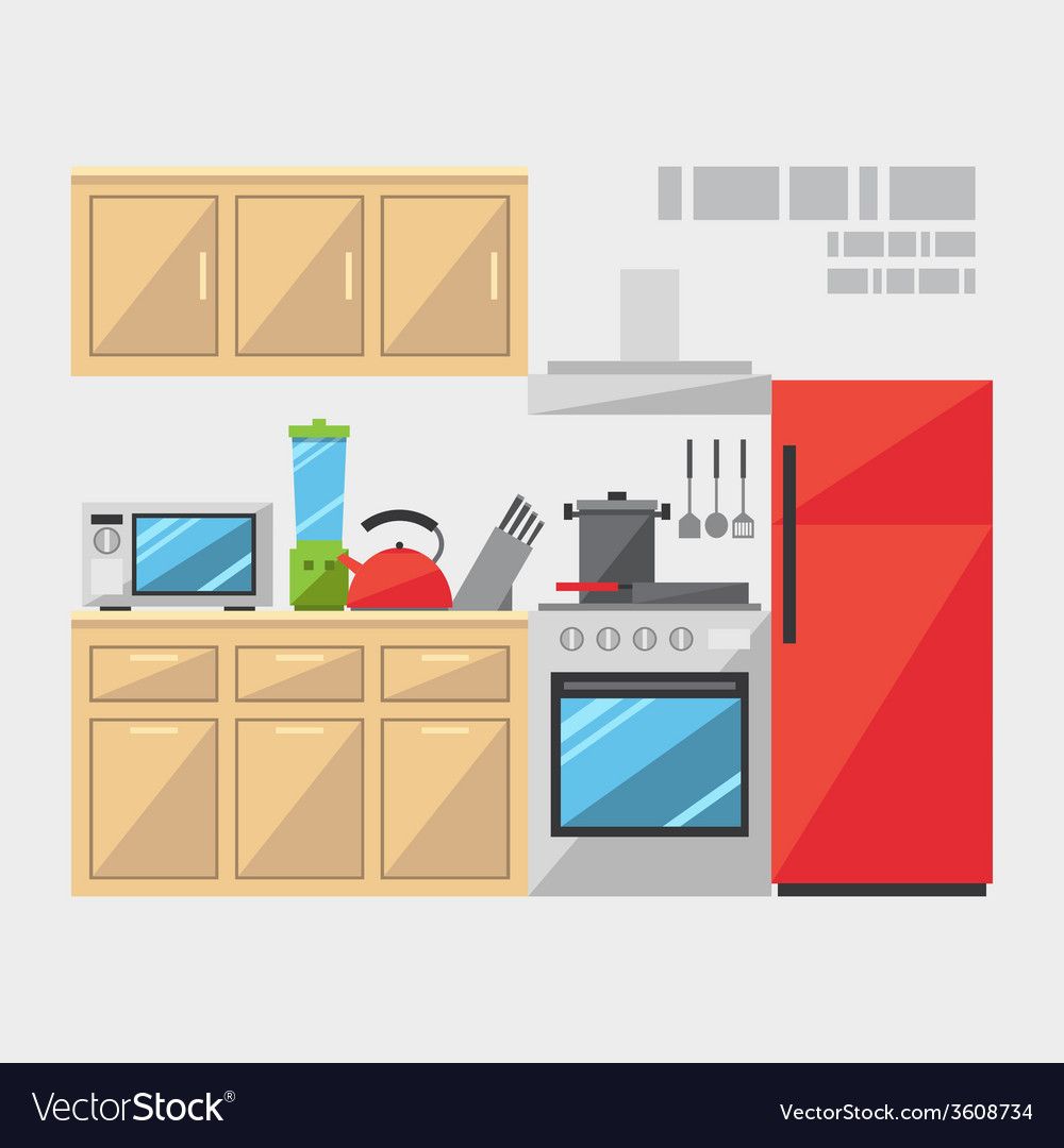 Flat design of kitchen interior vector | Price: 1 Credit (USD $1)