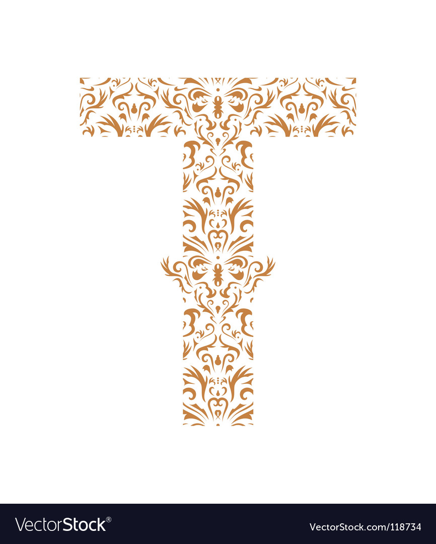 Floral letter t ornament font vector | Price: 1 Credit (USD $1)