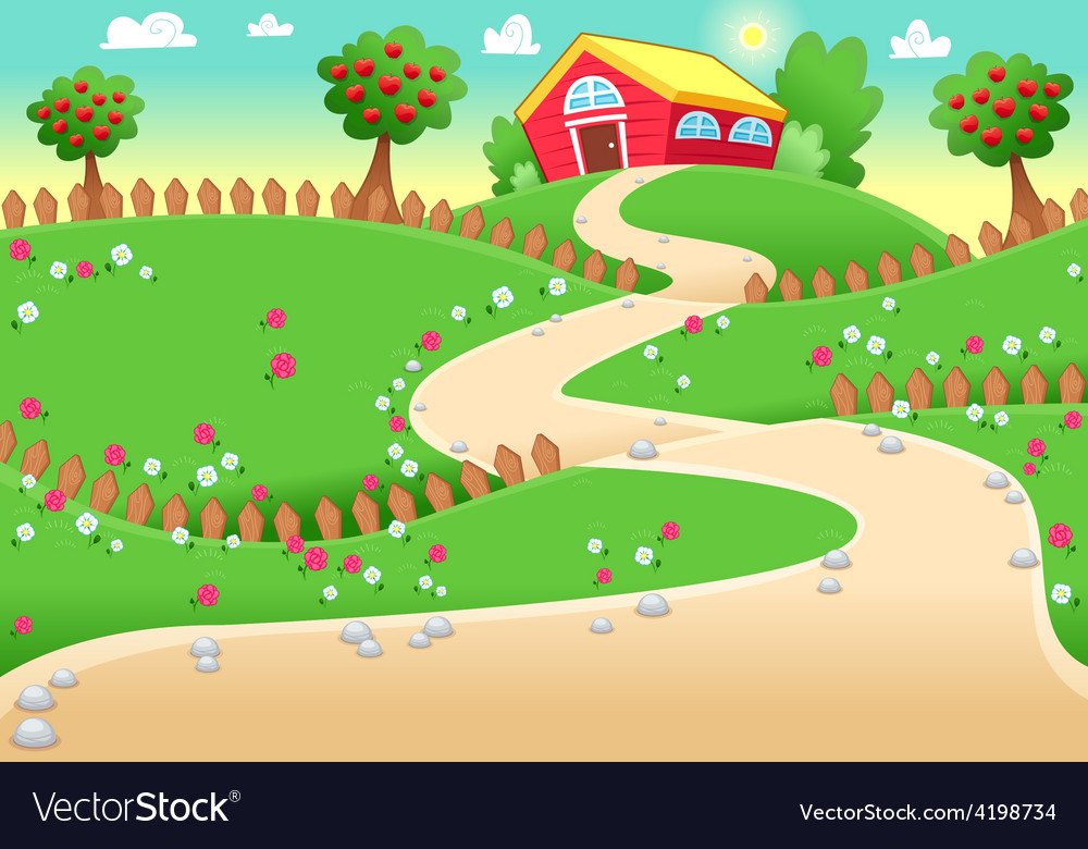 Funny landscape with farm vector | Price: 1 Credit (USD $1)