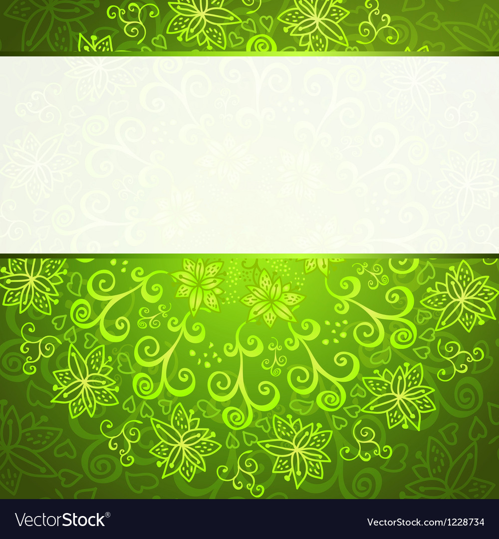 Green abstract floral ornament background vector | Price: 1 Credit (USD $1)