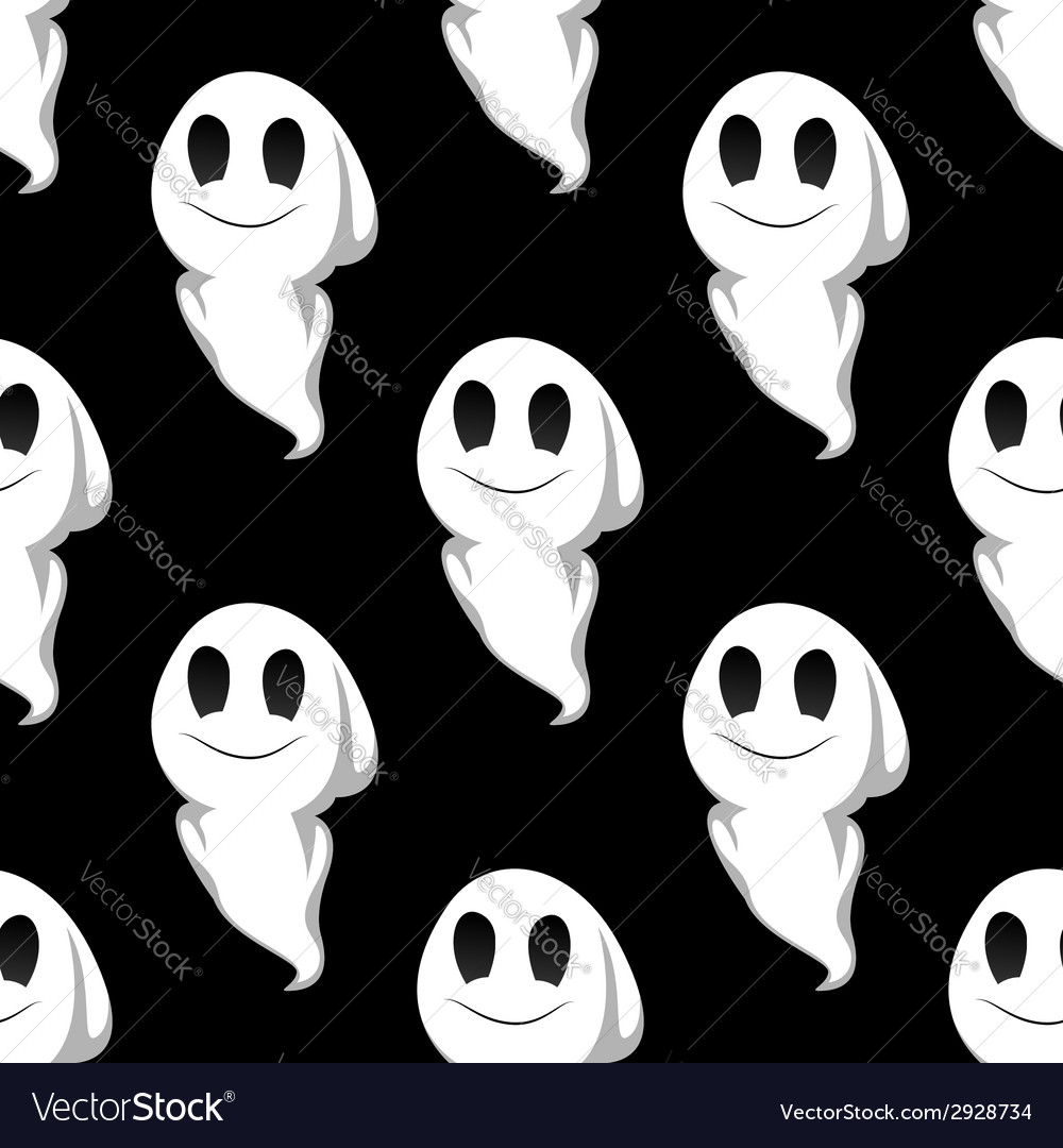 Halloween ghosts seamless pattern background vector | Price: 1 Credit (USD $1)