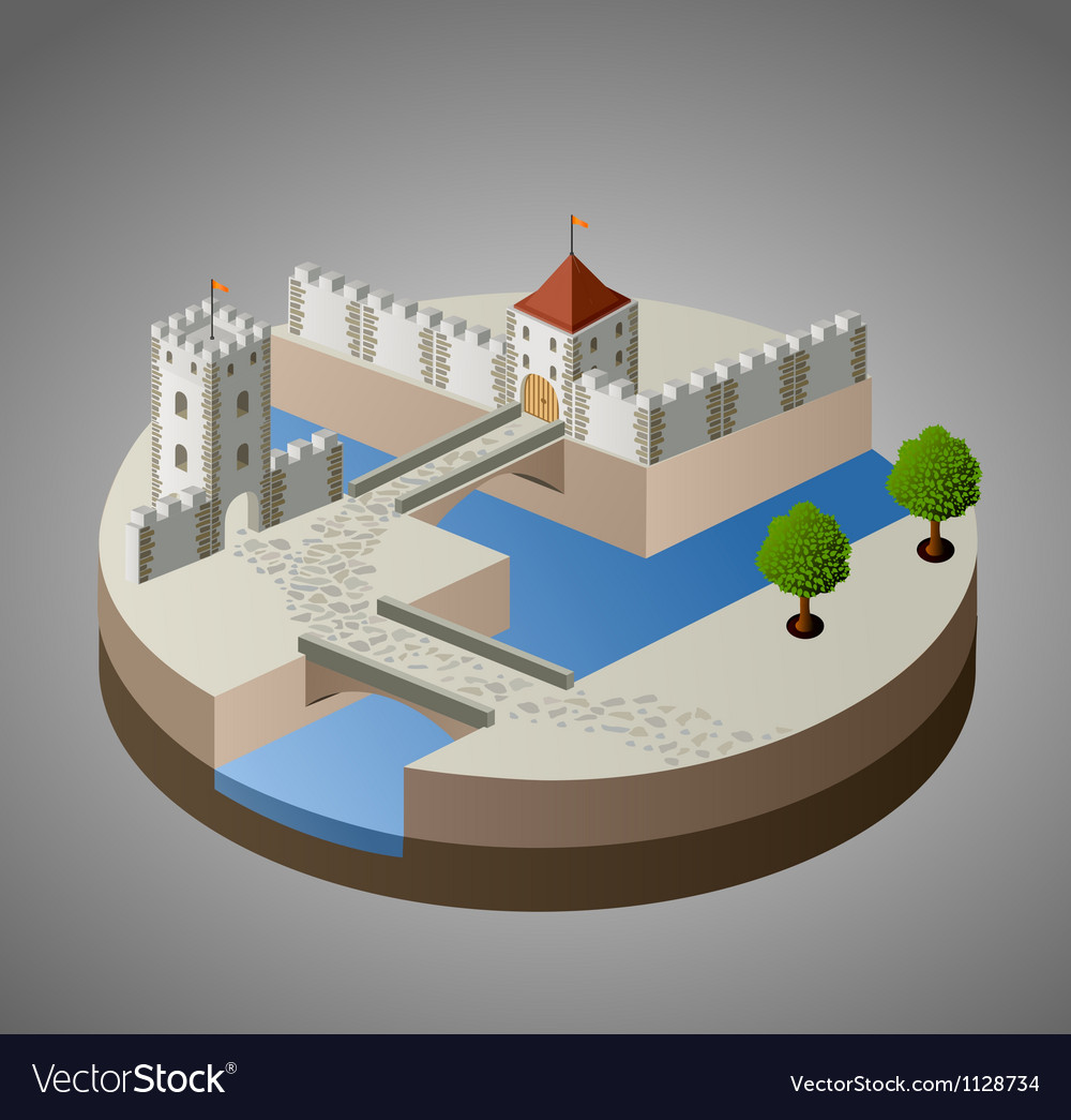 Medieval castle vector | Price: 1 Credit (USD $1)