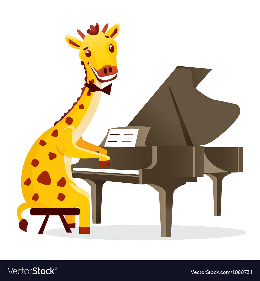 Musical animals giraffe piano vector | Price: 1 Credit (USD $1)