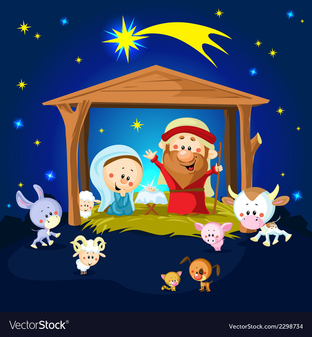 Nativity in bethlehem with animals - christmas vector | Price: 1 Credit (USD $1)