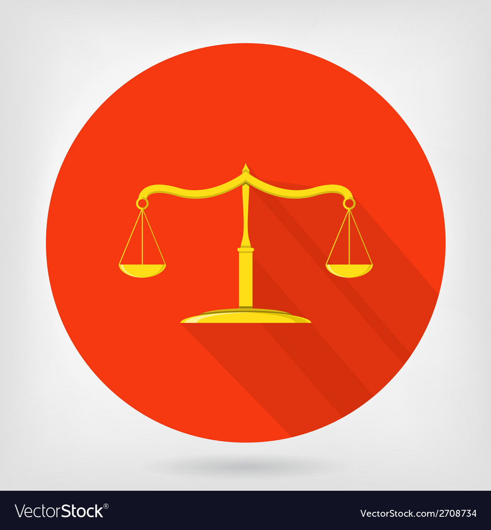 Scales of justice flat icon vector | Price: 1 Credit (USD $1)