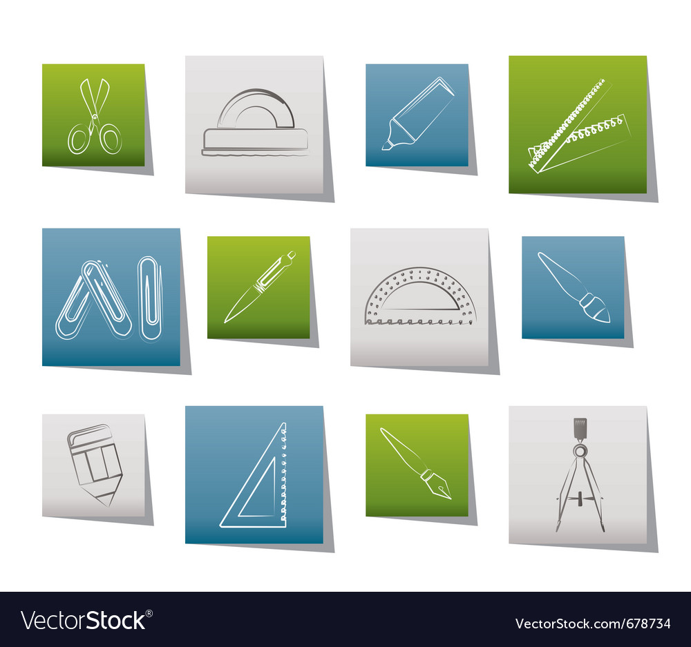 School and office tools icons vector | Price: 1 Credit (USD $1)