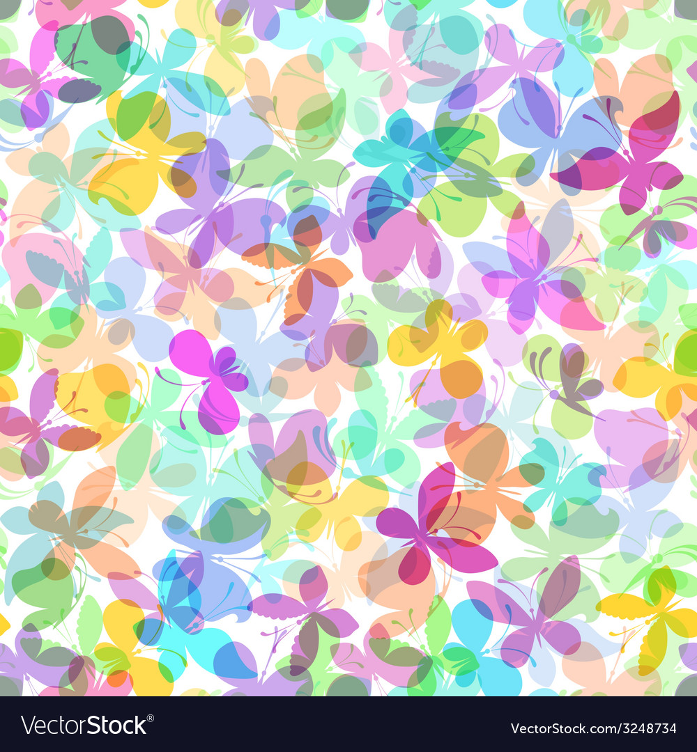 Seamless pattern of colored butterflies on white vector | Price: 1 Credit (USD $1)