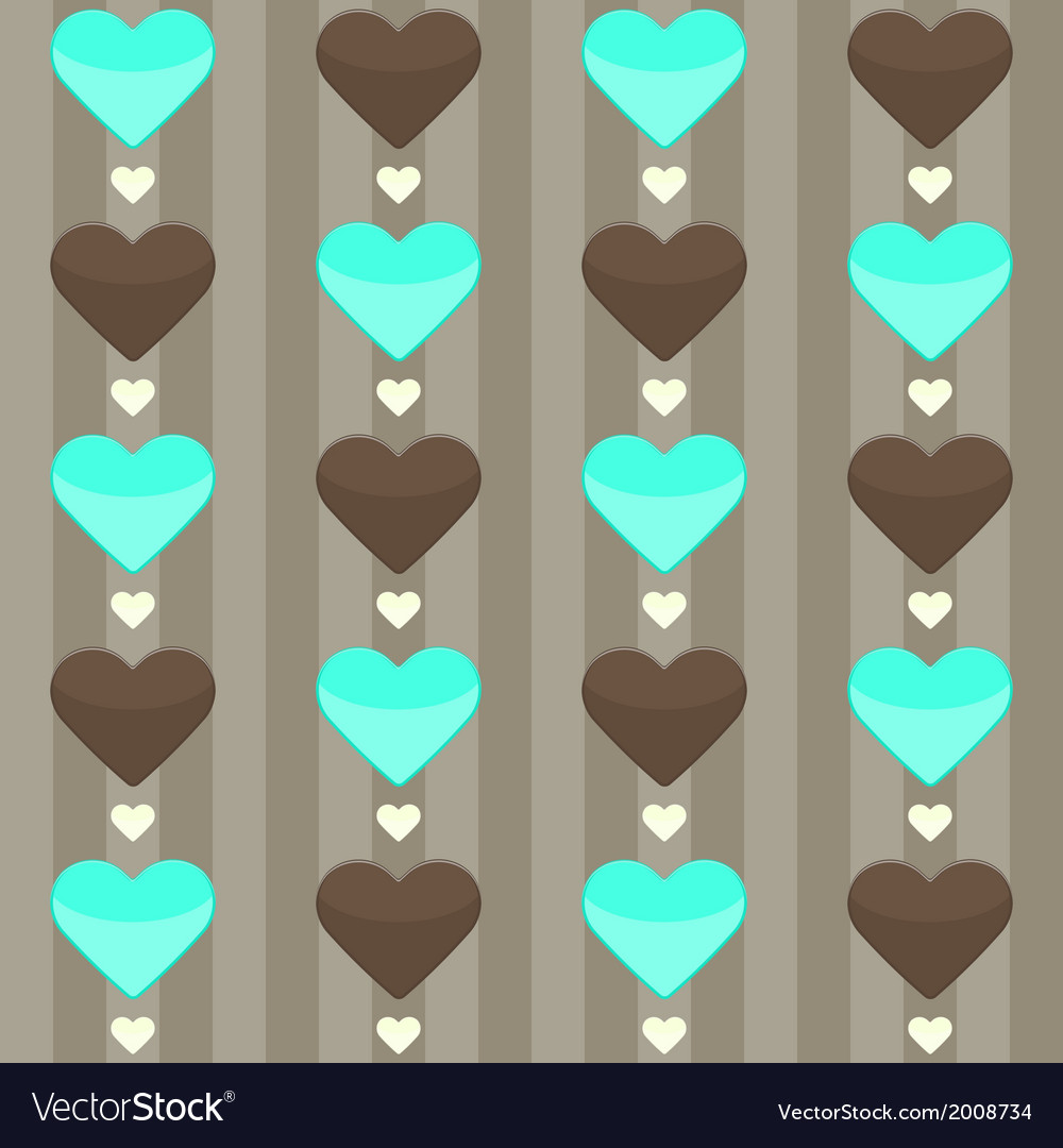 Seamless pattern with many hearts on a brown vector | Price: 1 Credit (USD $1)