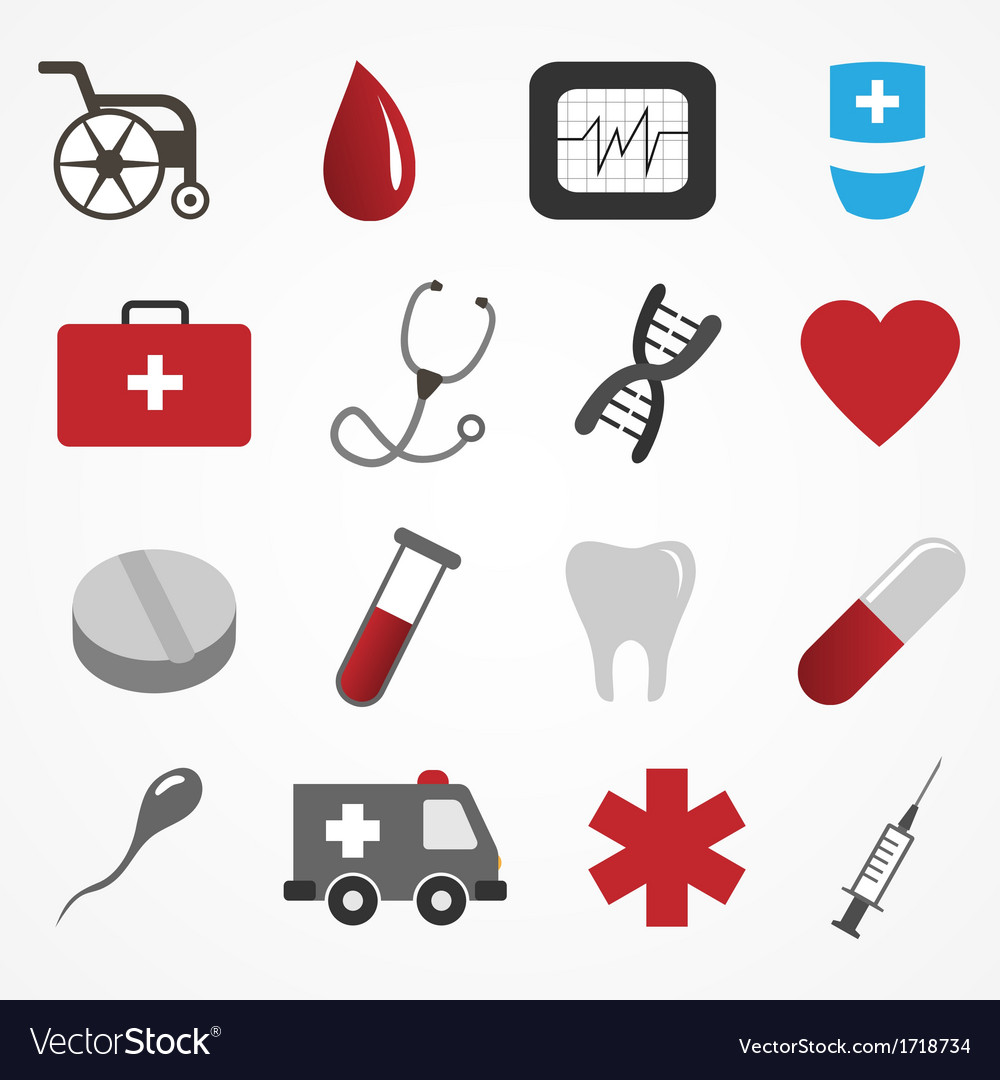 Set of medical icons on white background vector | Price: 1 Credit (USD $1)