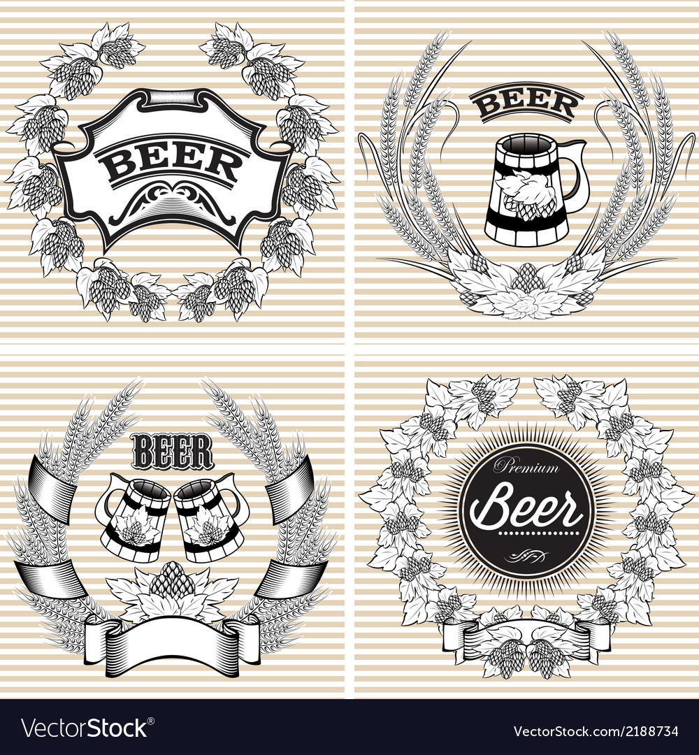 Set of wreaths of rye and hops for beer vector | Price: 1 Credit (USD $1)