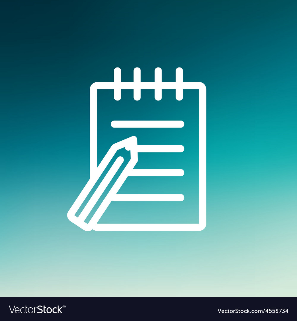 Writing pad and pen thin line icon vector | Price: 1 Credit (USD $1)