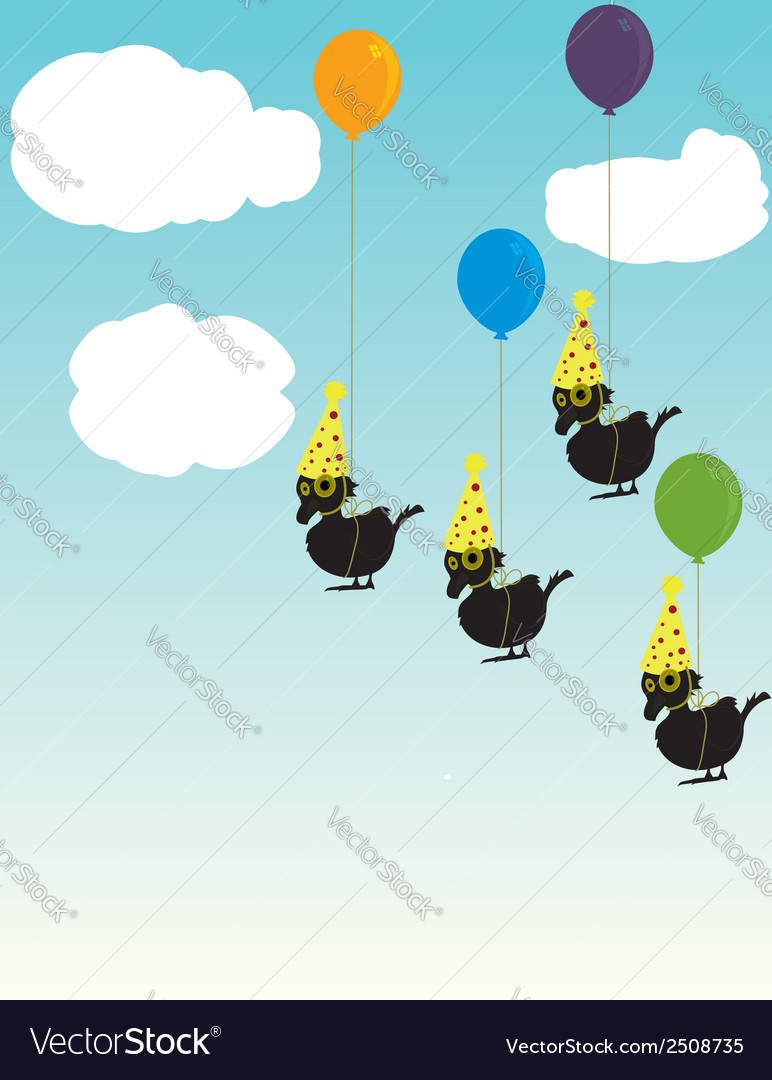 Birds tied to balloons vector | Price: 1 Credit (USD $1)
