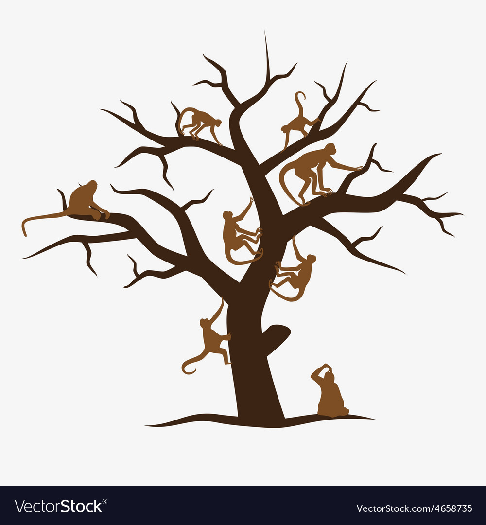 Brown monkey tree with a lot of monkeys eps10 vector | Price: 1 Credit (USD $1)