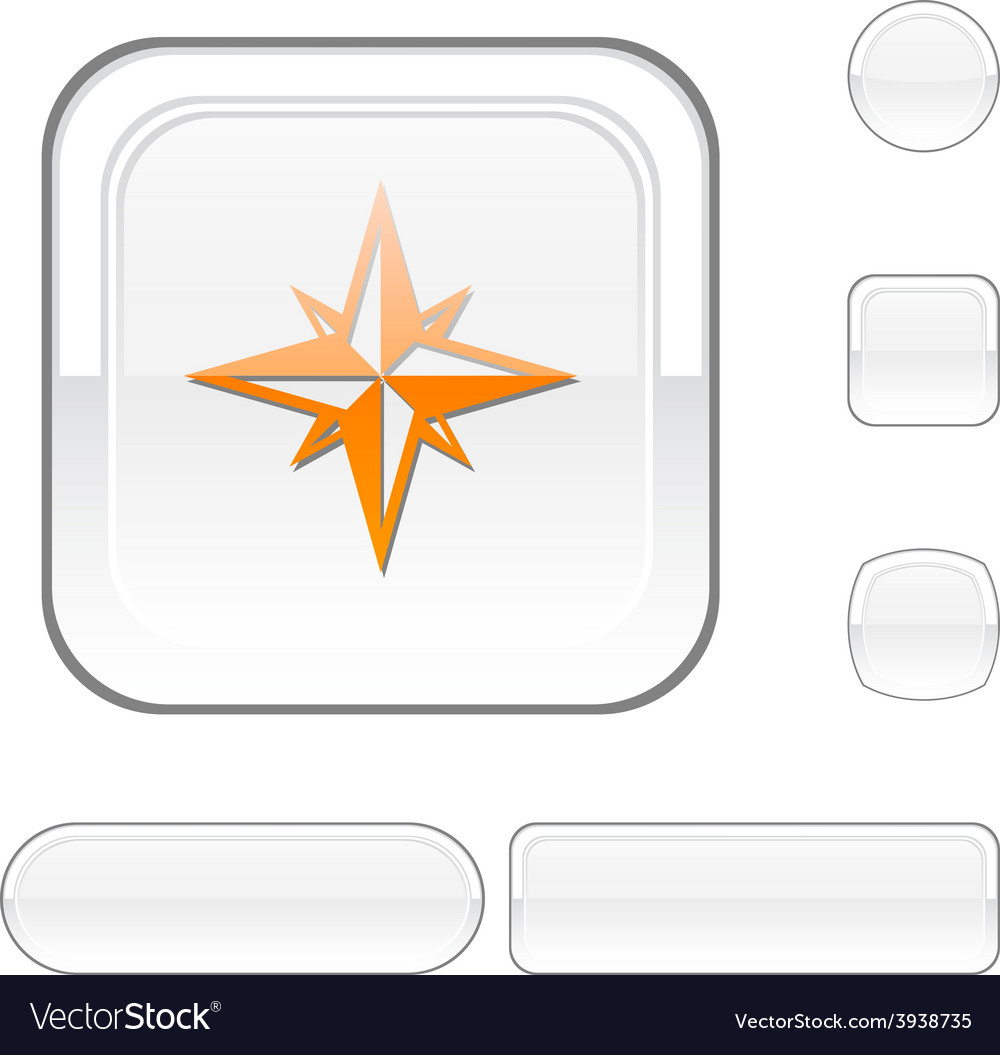 Compass white button vector | Price: 1 Credit (USD $1)