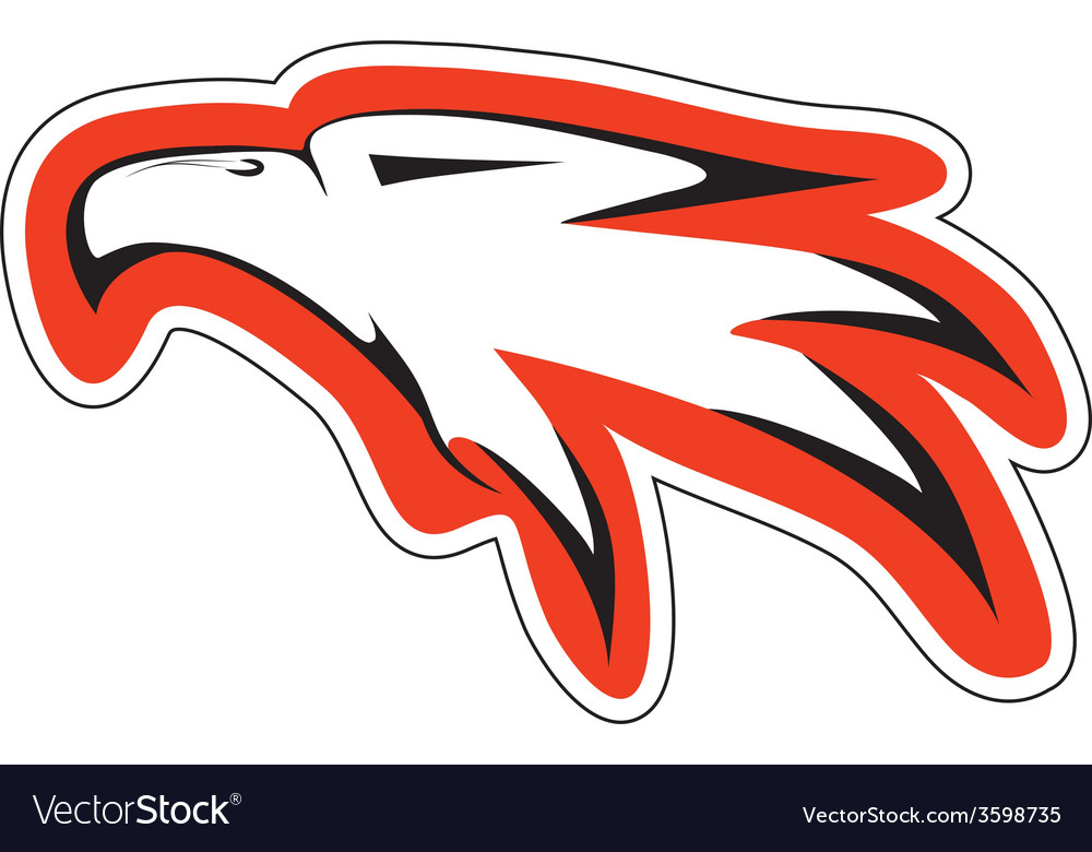 Eagl head in red countur vector | Price: 1 Credit (USD $1)
