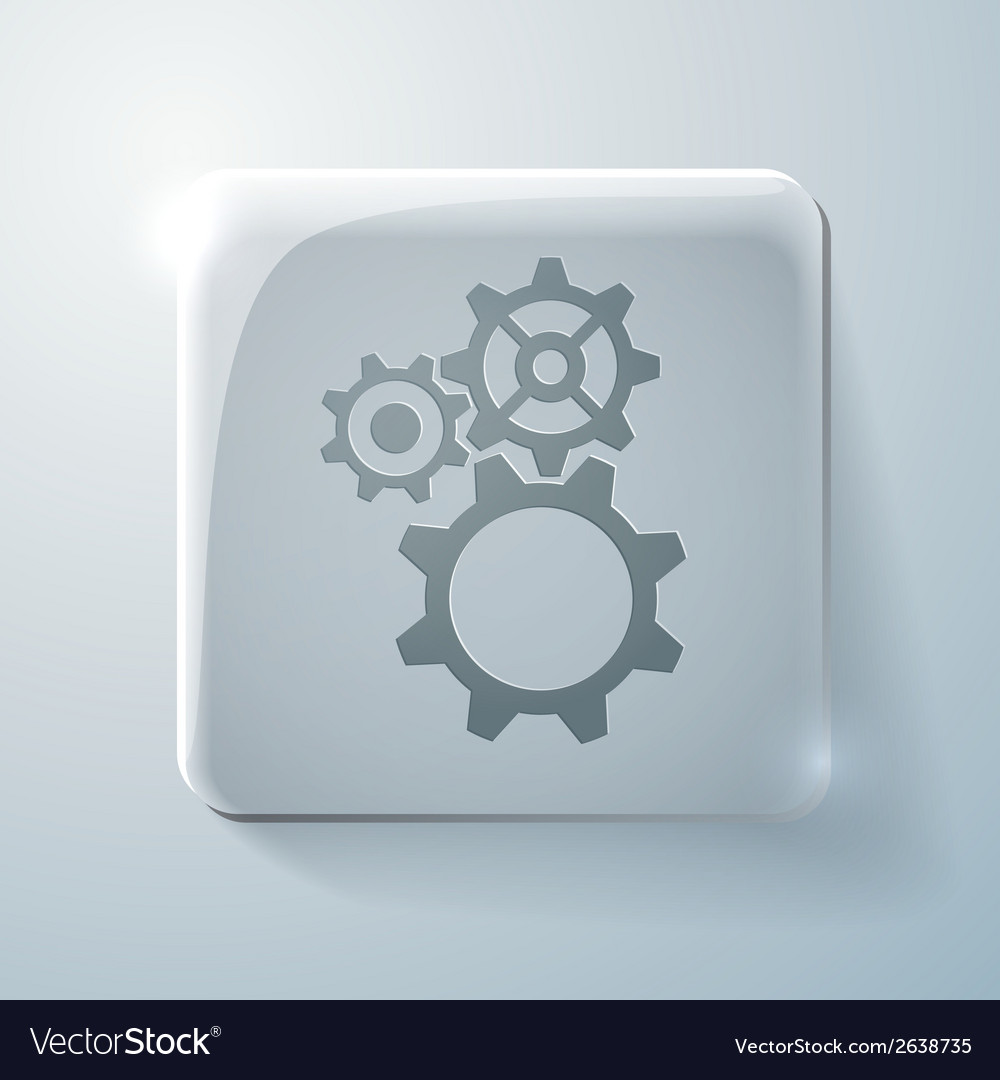 Glass square icon symbol settings cogwheel vector | Price: 1 Credit (USD $1)