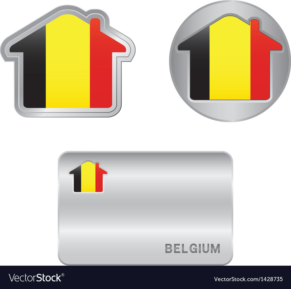 Home icon on the belgium flag vector | Price: 1 Credit (USD $1)