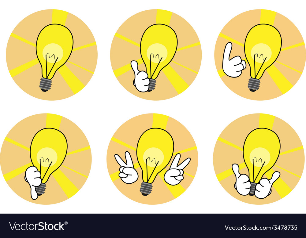 Lamp icons with hands set vector | Price: 1 Credit (USD $1)