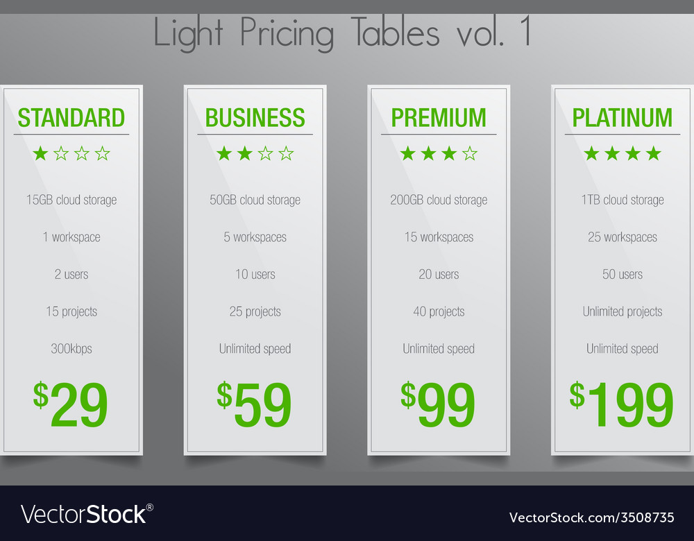 Light pricing tables - set of four price banners vector | Price: 1 Credit (USD $1)
