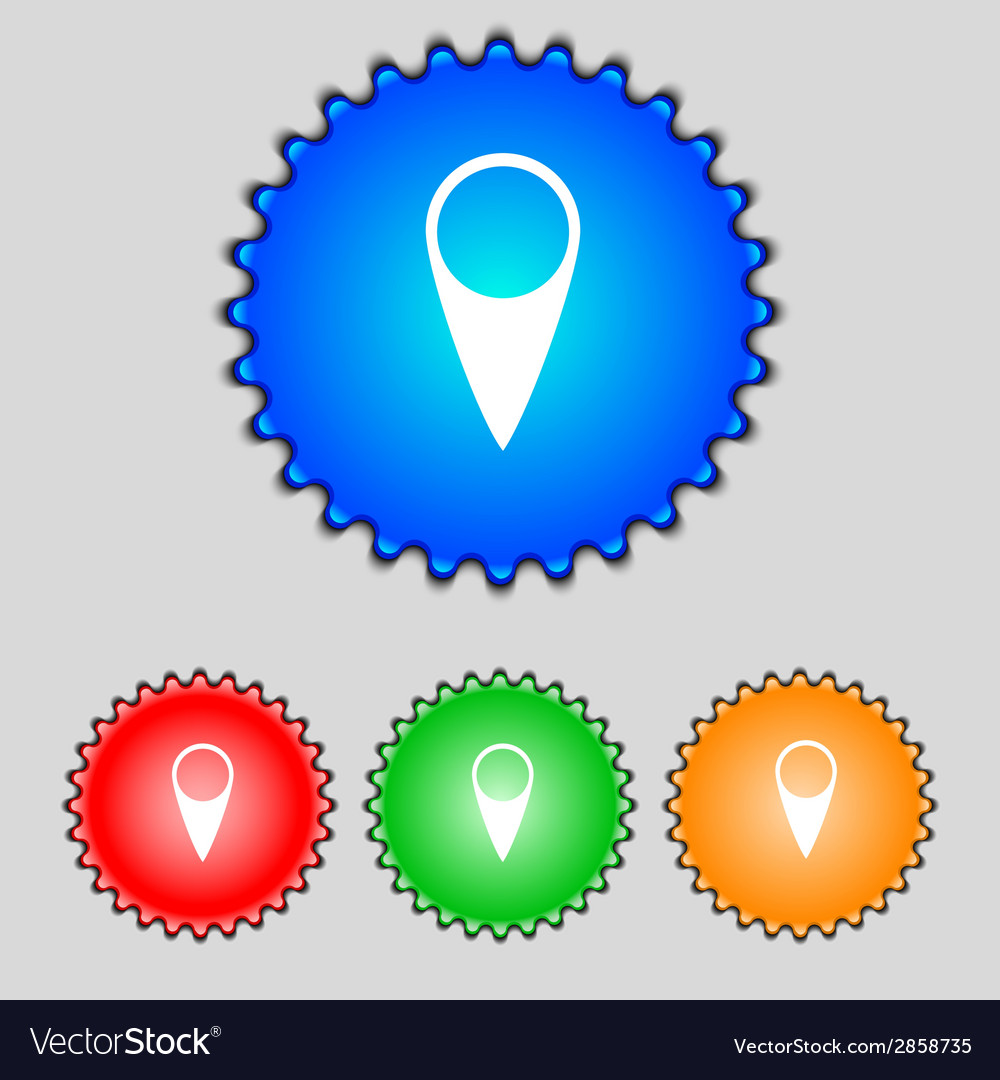 Map pointer icon gps location symbol set colourful vector | Price: 1 Credit (USD $1)