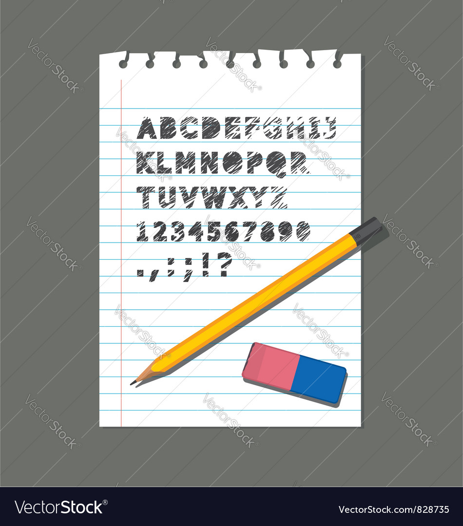 Pencil rubber paper letter vector | Price: 1 Credit (USD $1)