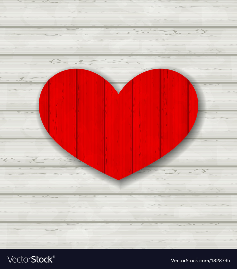 Red heart on wooden background for valentine day vector | Price: 1 Credit (USD $1)