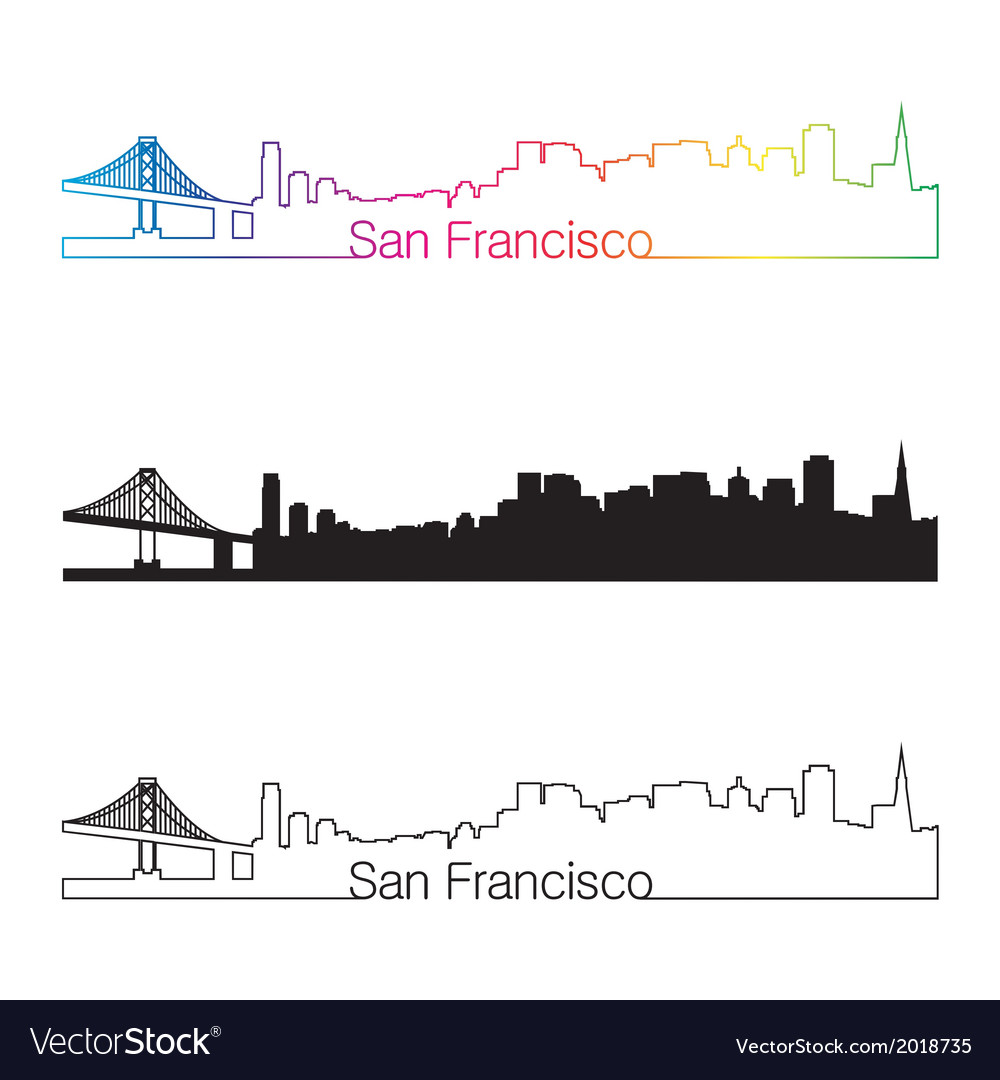 San francisco skyline linear style with rainbow vector | Price: 1 Credit (USD $1)