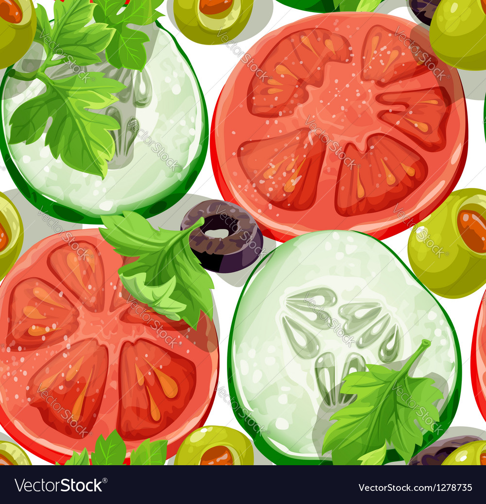 Seamless ornament delicious slices of vegetables vector | Price: 1 Credit (USD $1)