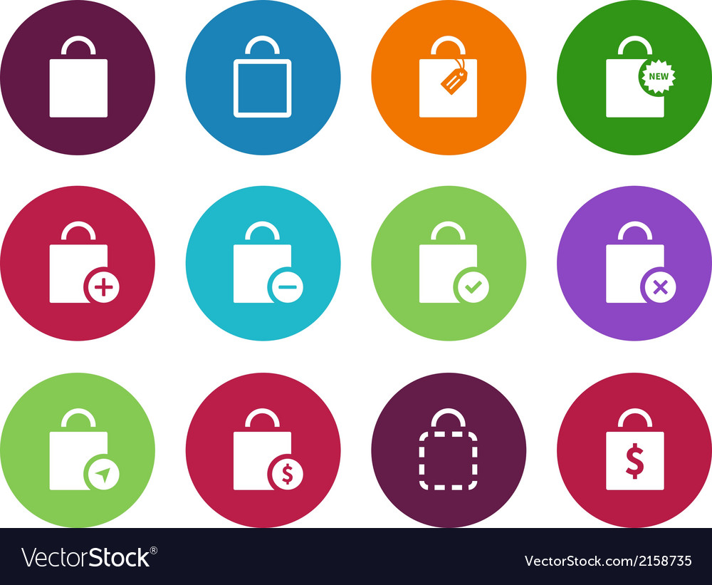 Shopping bag circle icons on white background vector | Price: 1 Credit (USD $1)