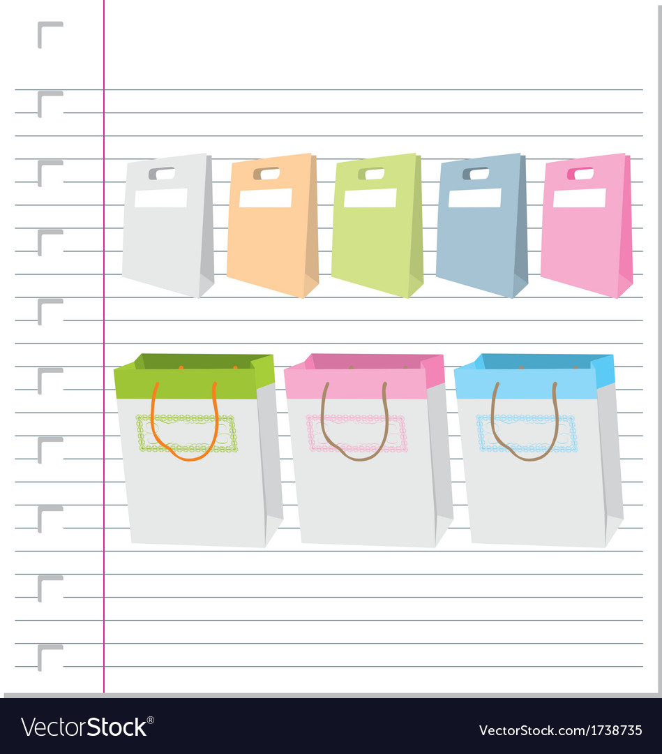 Shopping bags on paper vector | Price: 1 Credit (USD $1)