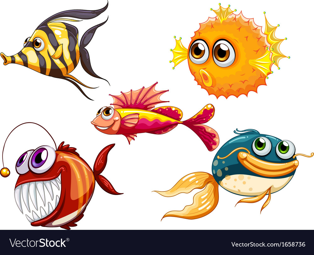 A group of sea creatures vector | Price: 3 Credit (USD $3)
