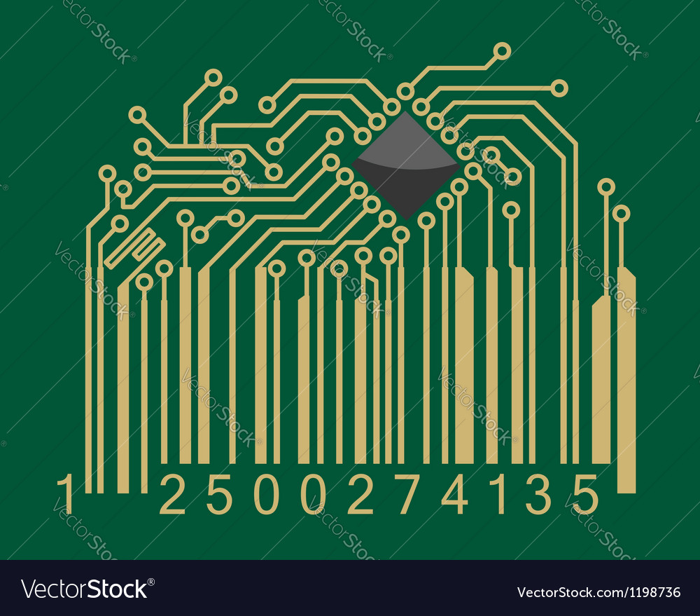 Bar code with computer motherboard elements vector | Price: 1 Credit (USD $1)