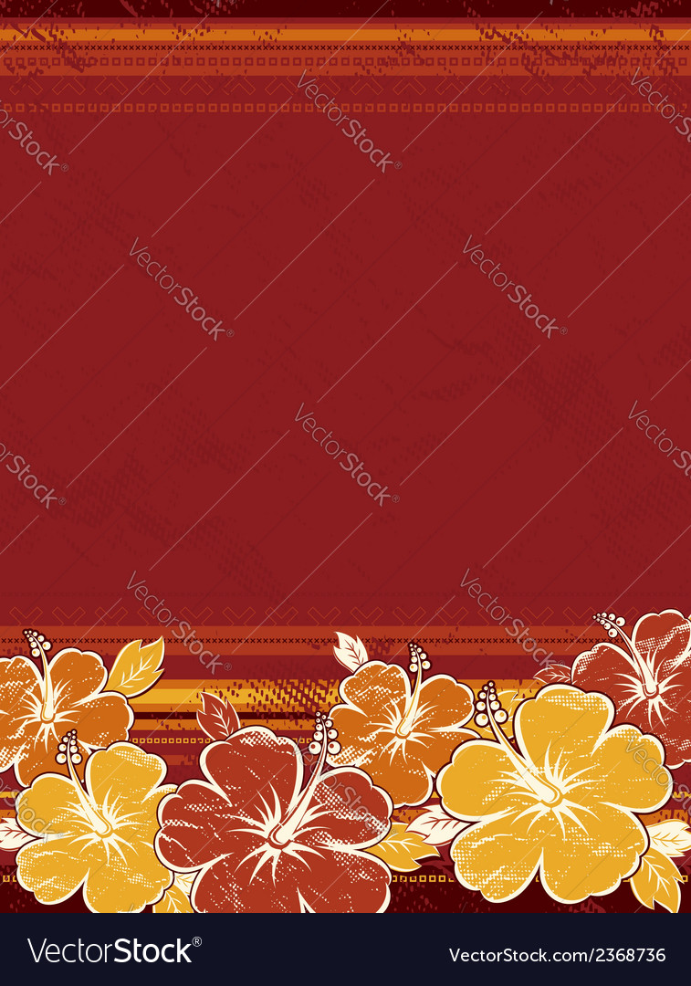 Bouquet of hibiscus on red background vector | Price: 1 Credit (USD $1)